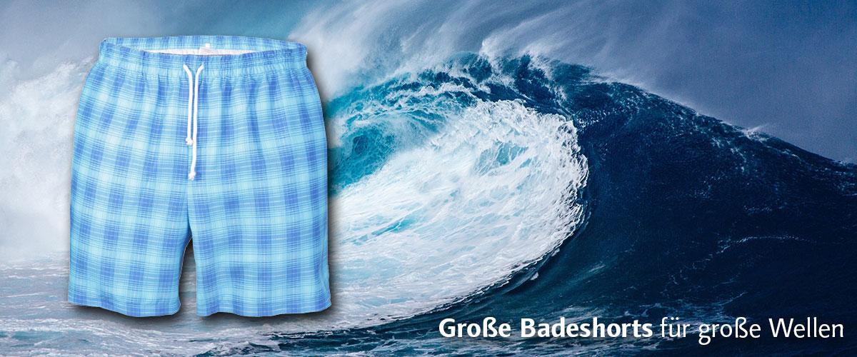 leichte karierte Badeshorts aus Microfaser mit Reißverschluss Tasche